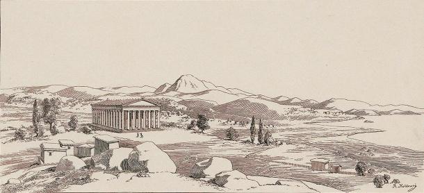 Σχεδιαστική αναπαράσταση του αρχαίου ναού και του ευρύτερου του χώρου, με τον Όλυμπο στο βάθος και τον κόλπο Καλλονής δεξιά (αναδημοσίευση από το βιβλίο του Γερμανού αρχαιολόγου R. Koldewey με τίτλο Lesbos του 1890)